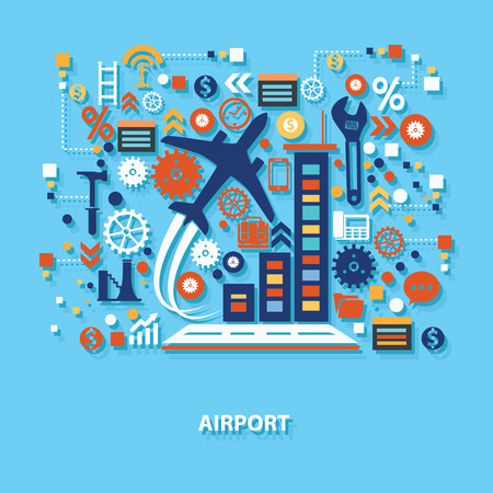 urban planning: Airport concept design on blue background,clean vector