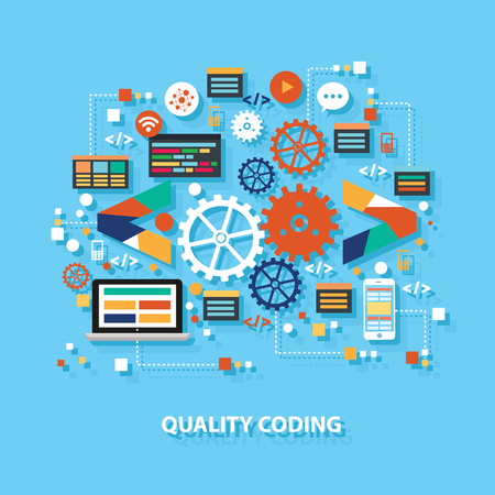 Quality coding concept design on blue background,clean vector