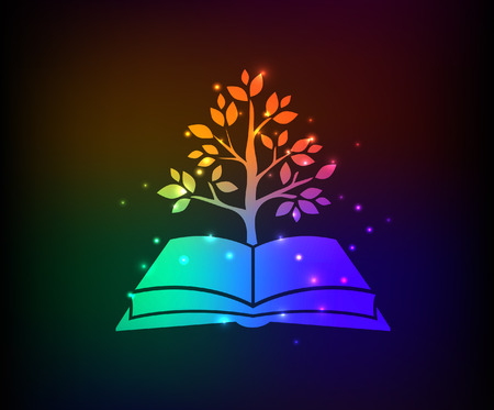 encyclopedia: Tree growth,book design,rainbow concept,clean vector