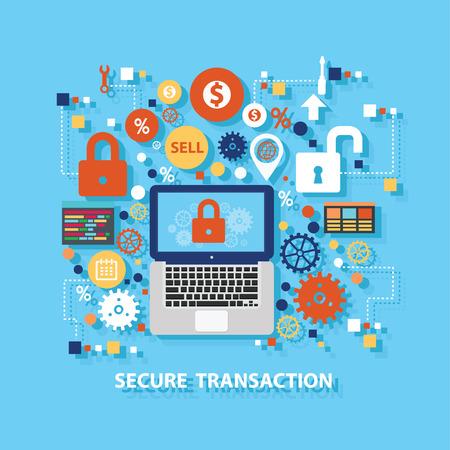 Secure transaction concept design on blue background,clean vector Illustration