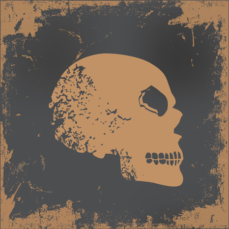 dirty teeth: Skull design on old paper background,vector