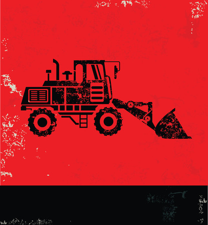 wheeled tractor: Truck design on red background, grunge vector