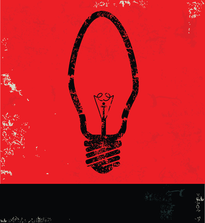 old and new: Light bulb design on red background,grunge vector