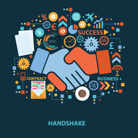 hands together: Hand shake concept design on dark background,clean vector