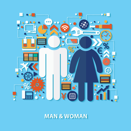 business group: Man and woman concept design on blue background,clean vector