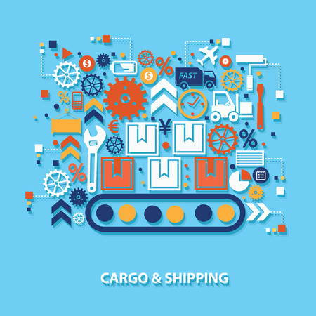 stockpile: Shipping and construction concept design on blue background,clean vector Illustration
