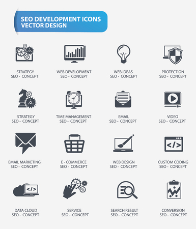 case studies: SEO and web development icons design,vector Illustration