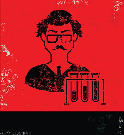 investigador cientifico: Diseño Científico sobre fondo rojo, vector del grunge Vectores