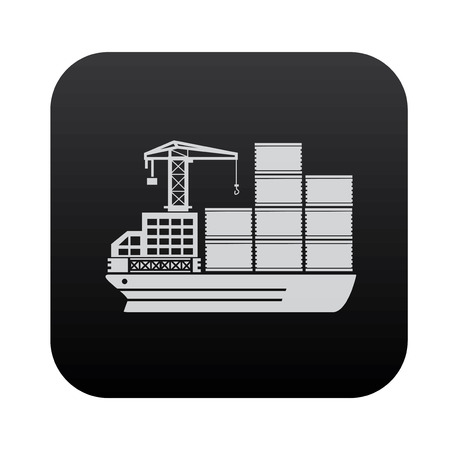 shipbuilder: Shipping boat on black button blackboard,vector Illustration