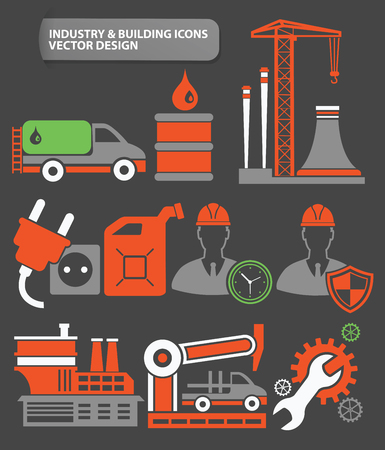 hazardous work: Industry and factory icon set,clean vector