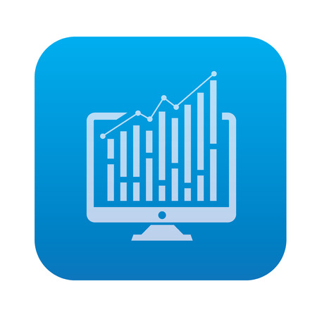 delineate: Computer analysis icon on blue background,clean vector Illustration