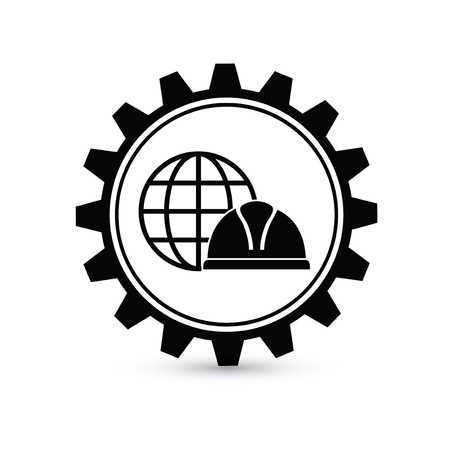 safety gear: Industry safety design,gear concept on white background,clean vector