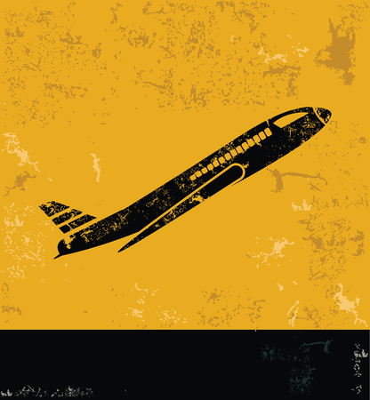 fixed wing aircraft: Airplane concept design, yellow grunge vector