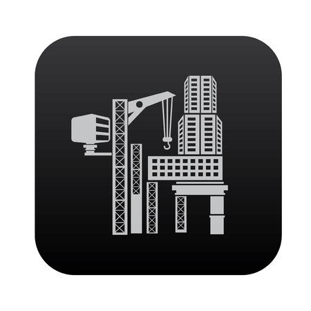 high rise buildings: Construction,building on black button blackboard,vector