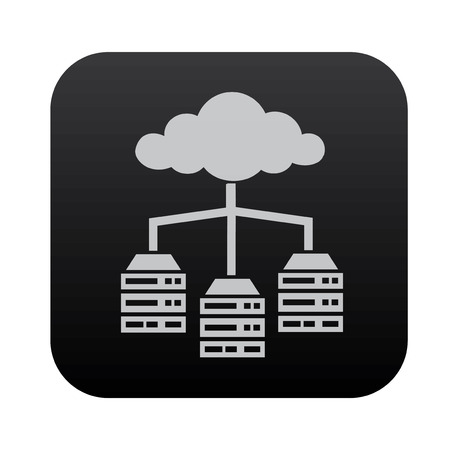 black button: Cloud computing,Database and network on black button blackboard,vector Illustration