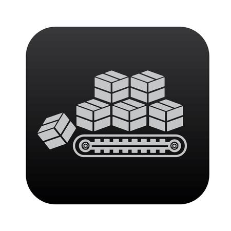 shipped: Box,cargo on black button blackboard,vector