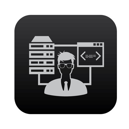 admin: Admin, Database and network on black button blackboard,vector