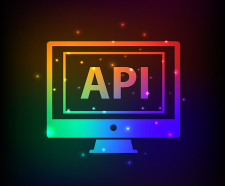 api: API design,abstract rainbow concept,clean vector Illustration