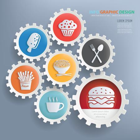 Voedsel en drank ontwerp infographic ontwerp, schone vector Vector Illustratie