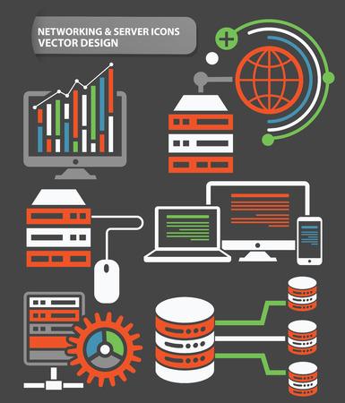 Database server,big data,network icons design,clean vector