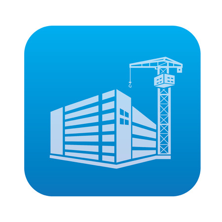 Construction,industry icon on blue background,clean vector Illustration