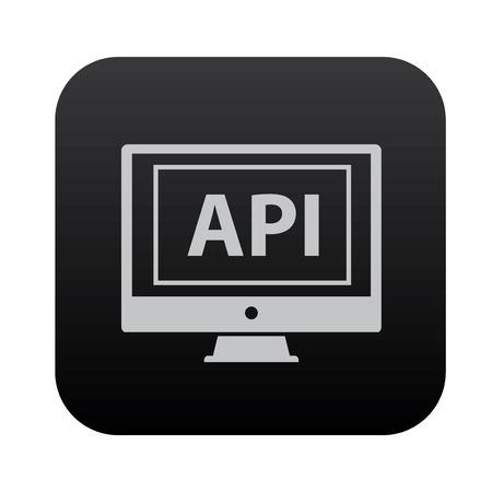 api: Api on black button blackboard,vector