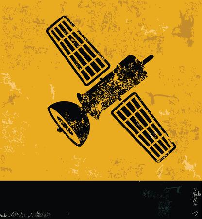 transponder: Satellite design, yellow grunge vector