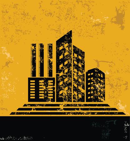 condo: Real estate,condo design on grunge yellow background, grunge vector