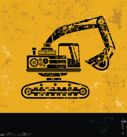compact track loader: Truck, industry concept design, yellow grunge vector Illustration