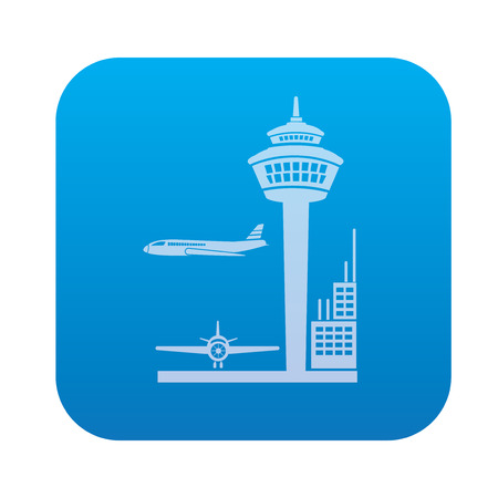 Airport icon on blue button background,clean vector