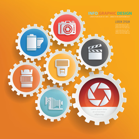 retouch: Camera and photography infographic design,clean vector