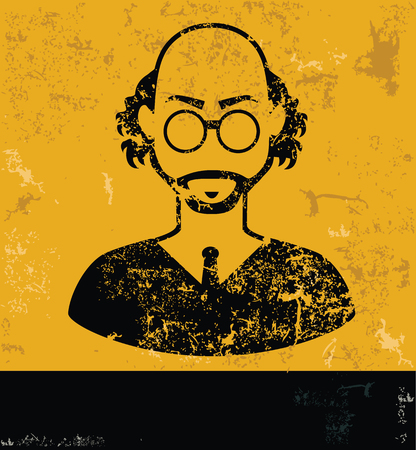 Teacher design, yellow grunge vector