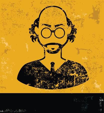 Teacher design, yellow grunge vector