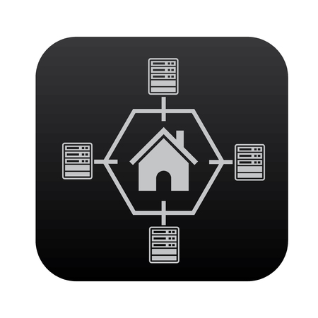 Hosting and network on black button blackboard