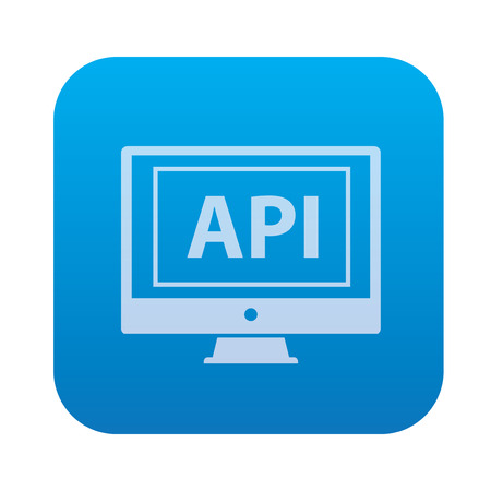 api: API,network server icon on blue background,clean vector