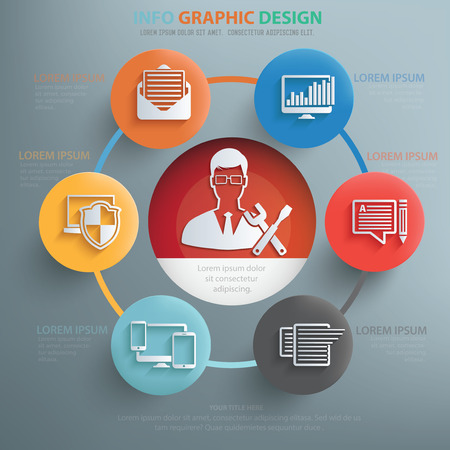 debugging: Admin and web development info graphic design,clean vector