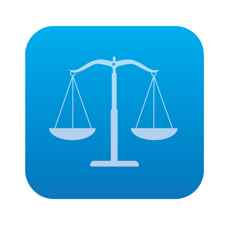 delinquency: Justice scale icon on blue button background,clean vector