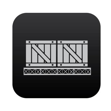 shipped: Cargo,box on black button blackboard,vector Illustration