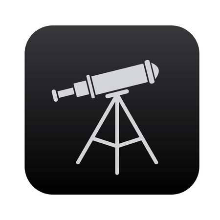 black button: Telescope icon design on black button,clean vector