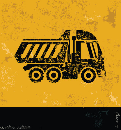 hauler: Truck concept design, yellow grunge vector