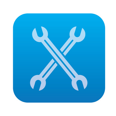 Repair icon on blue button background,clean vector Çizim