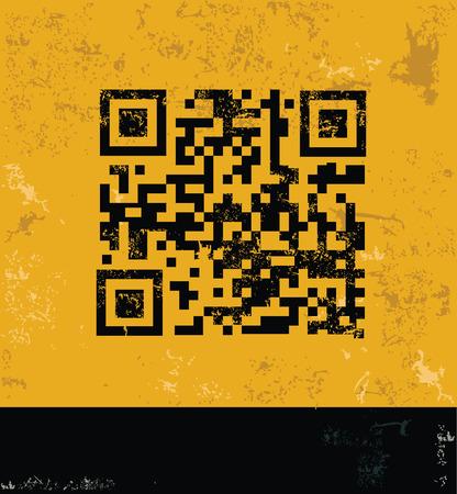checkout line: Qr code concept design, yellow grunge vector