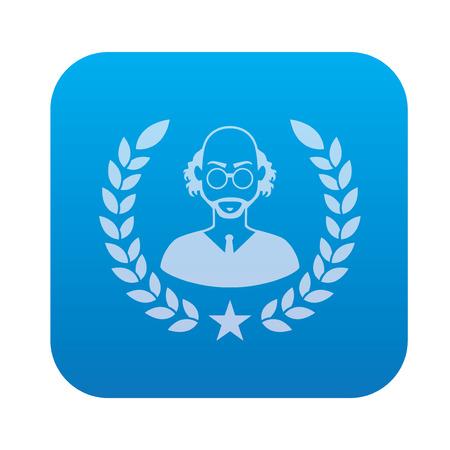savant: Scientist icon on blue background,clean vector