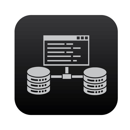 black button: Database,network on black button blackboard,vector Illustration