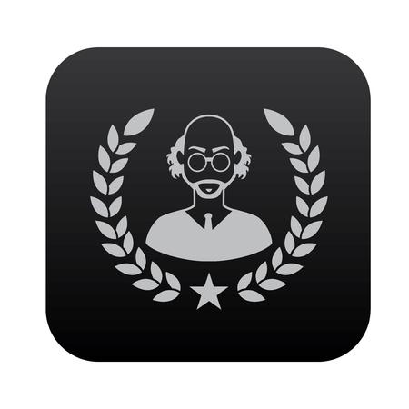 computer scientist: Scientist icon design on black button background,vector