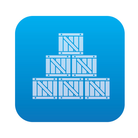 work crate: Box icon on blue button background,clean vector Illustration