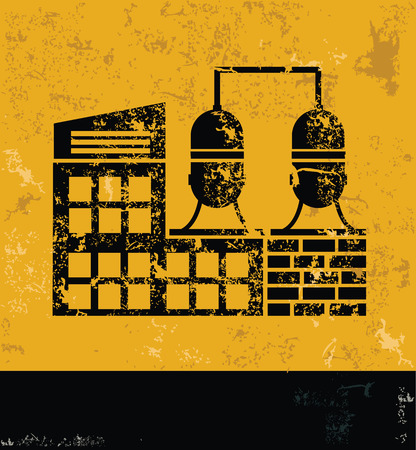 bulding: Factory and industry design on grunge yellow background, grunge vector