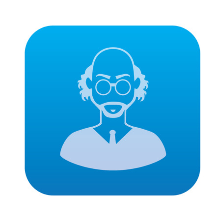 invent things: Scientist icon on blue background,clean vector