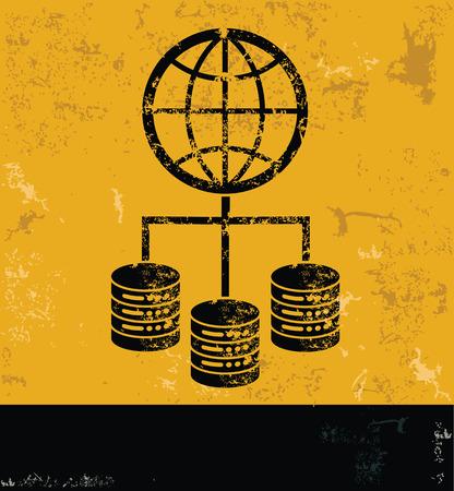 webhosting: Global and database design on grunge yellow background, grunge vector Illustration