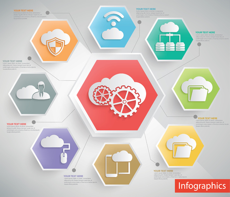 global settings: Cloud computing and database server info graphic design,clean vector